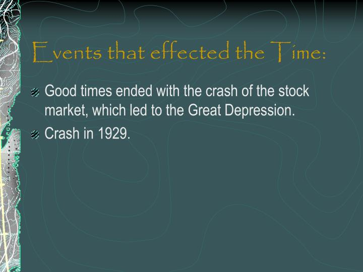 Events that effected the Time: