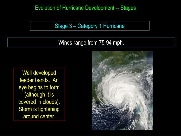 Evolution of Hurricane Development -- Stages