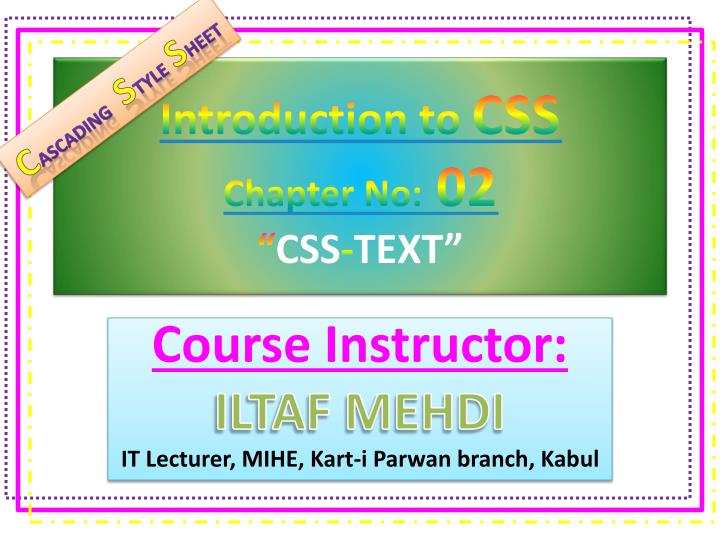 Ppt - Introduction To Css Chapter No  02  U201c Css