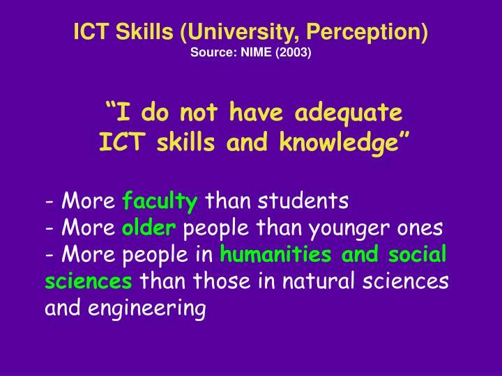 ICT Skills (University, Perception)
