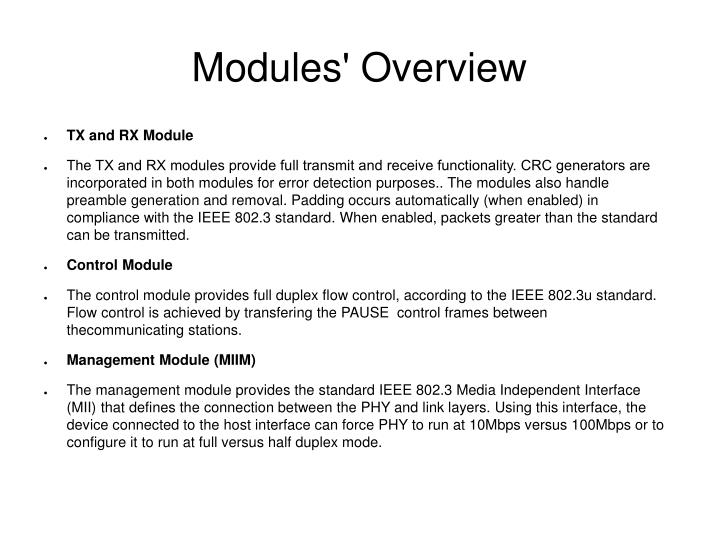 Modules' Overview