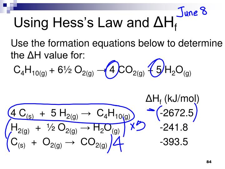 Using Hess's Law and