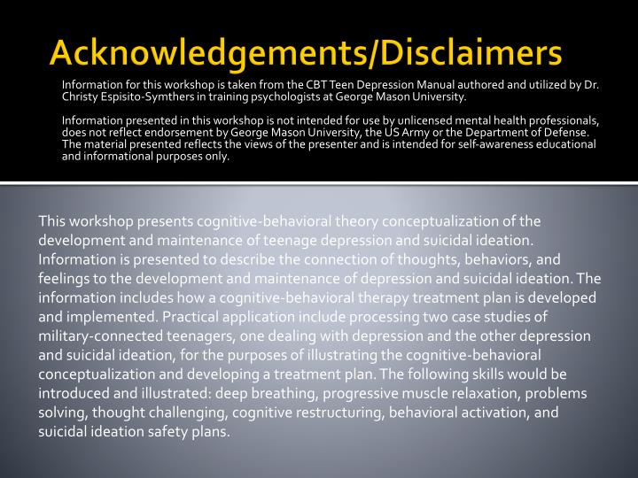 Acknowledgements disclaimers