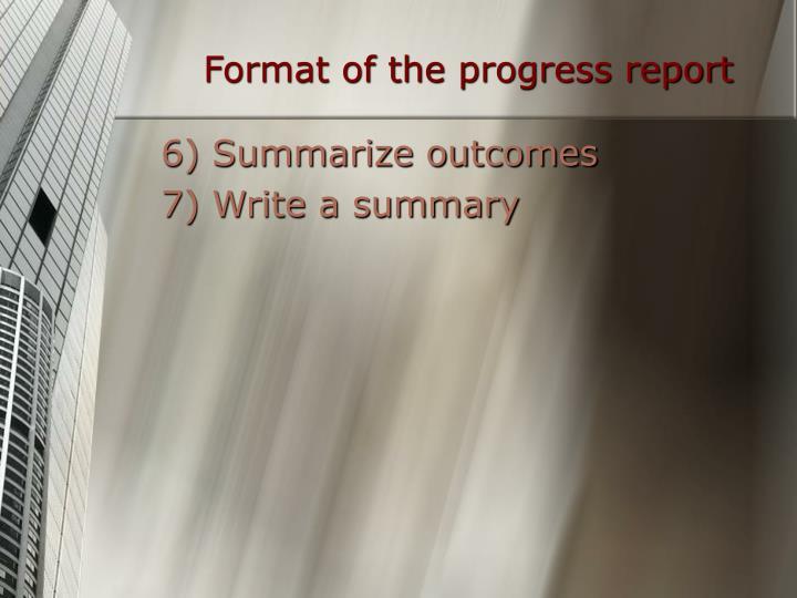 Format of the progress report