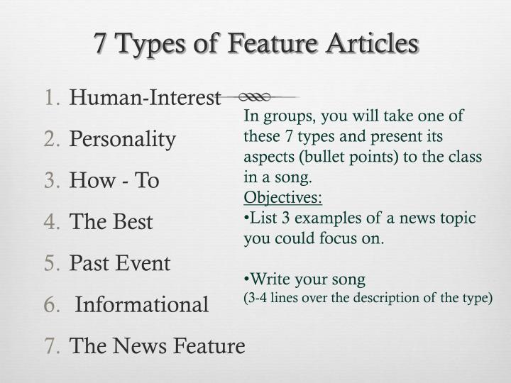 7 Types of Feature Articles