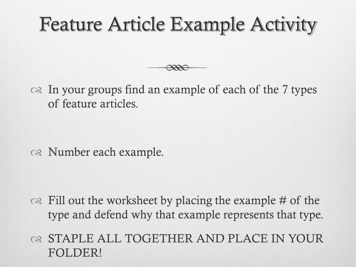 Feature Article Example Activity