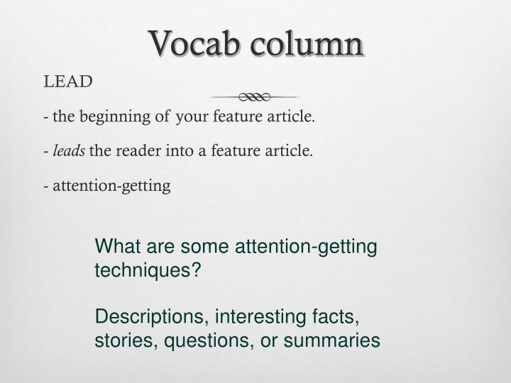 Vocab column