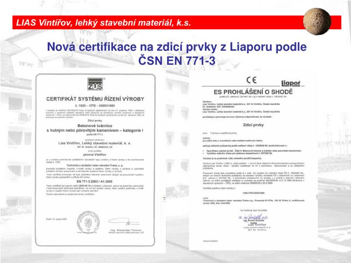 LIAS Vintířov, lehký stavební materiál, k.s.
