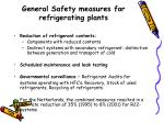 general safety measures for refrigerating plants