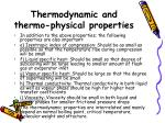 thermodynamic and thermo physical properties1