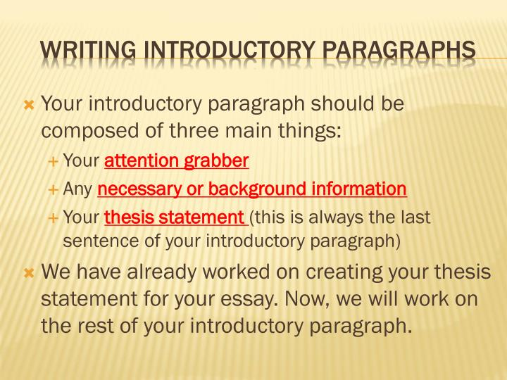 ppt   writing introductory paragraphs powerpoint presentation   id  writing introductory paragraphs   powerpoint ppt presentation