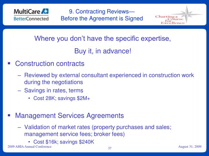 9. Contracting Reviews—