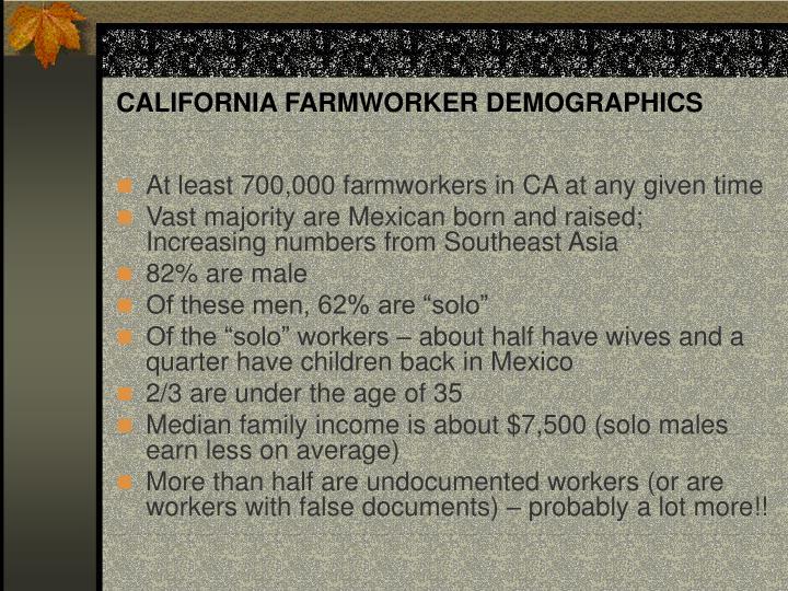 CALIFORNIA FARMWORKER DEMOGRAPHICS