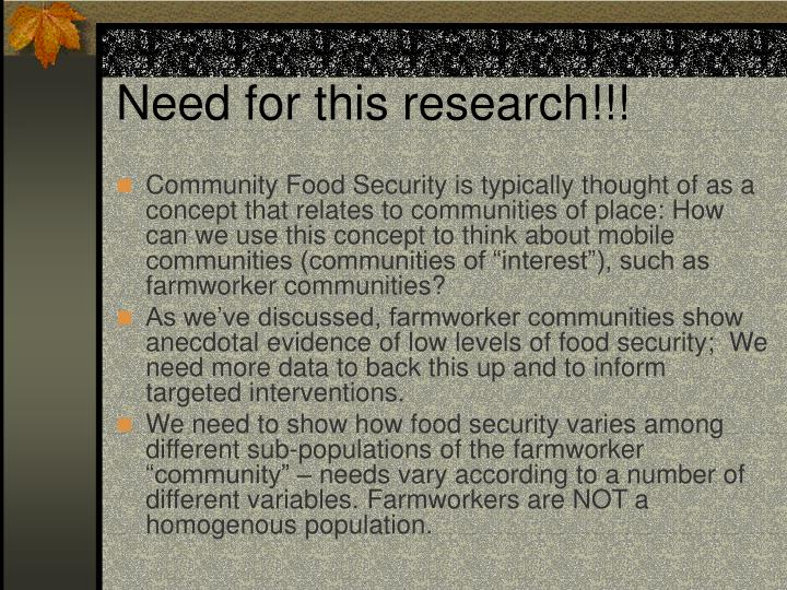 Need for this research!!!