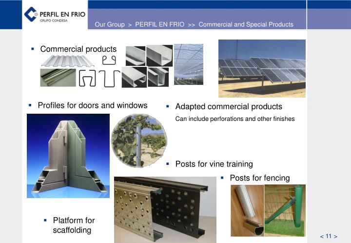 Our Group  >  PERFIL EN FRIO  >>  Commercial and Special Products