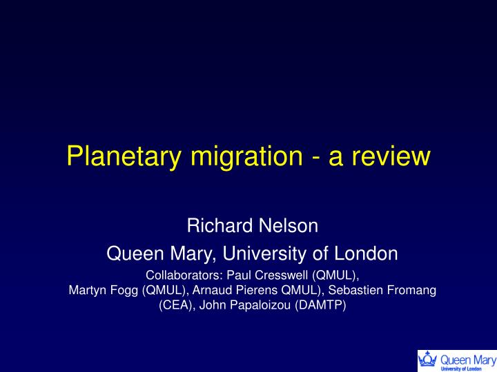 planetary migration a review n.