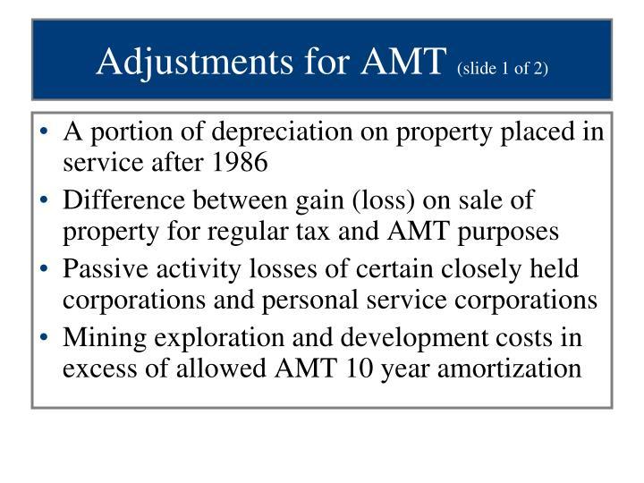 Adjustments for AMT