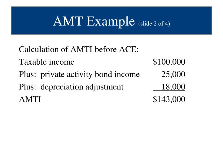 Calculation of AMTI before ACE: