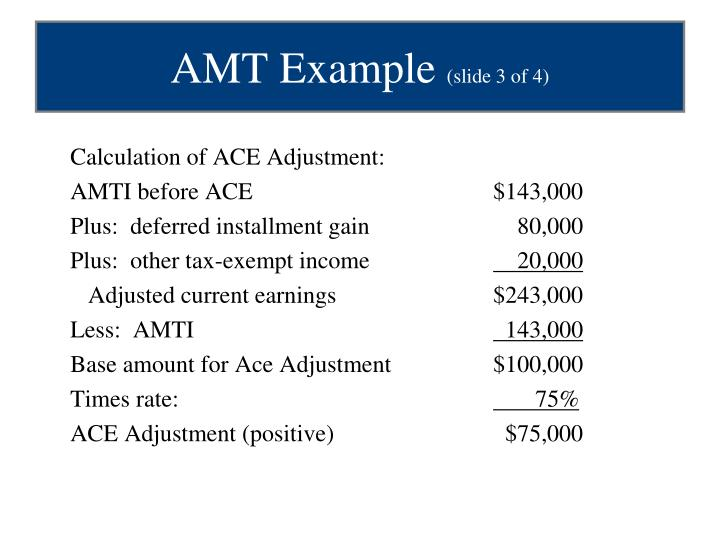 Calculation of ACE Adjustment:
