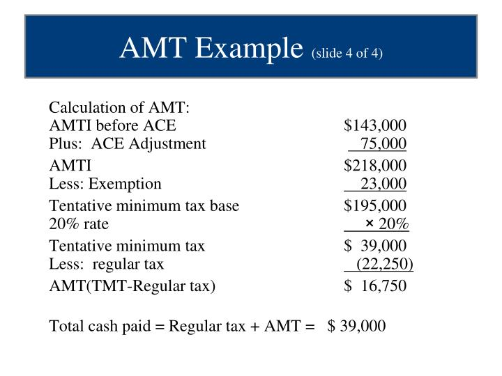 Calculation of AMT: