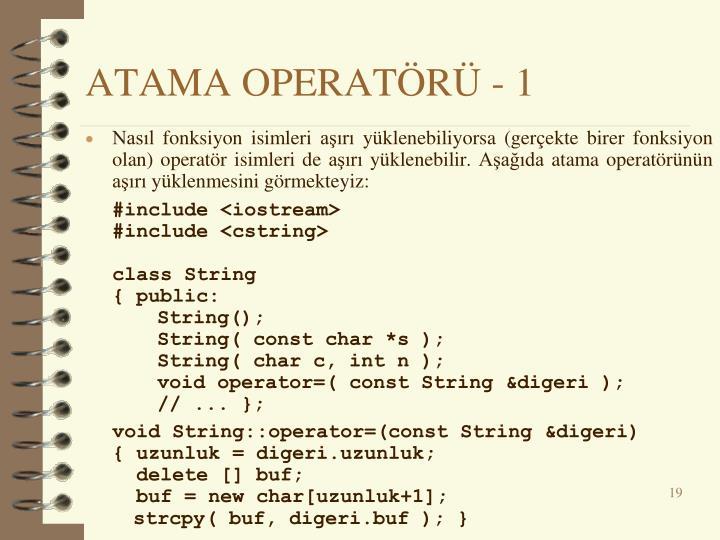 ATAMA OPERATÖRÜ - 1