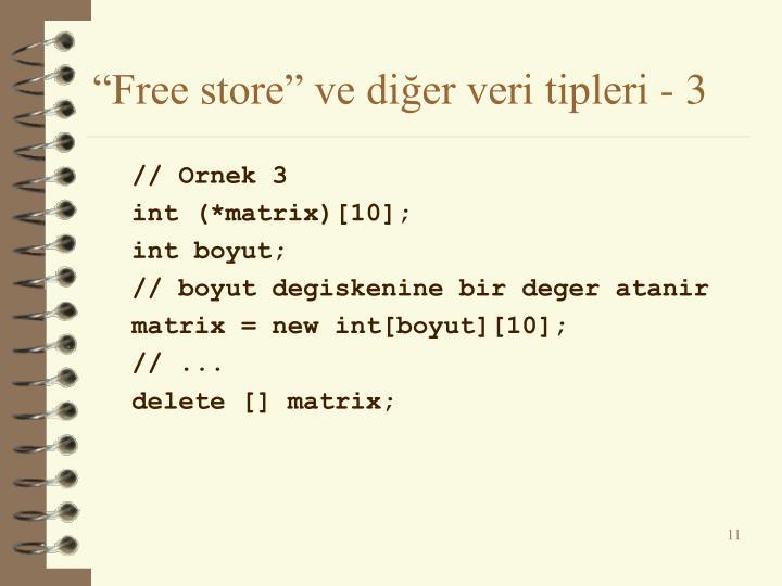 """""""Free store"""" ve diğer veri tipleri - 3"""
