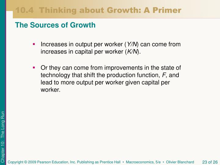 Increases in output per worker (