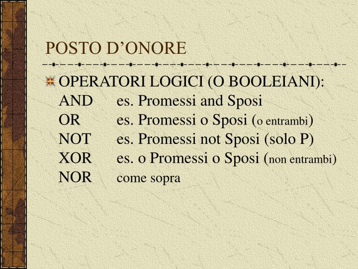 POSTO D'ONORE