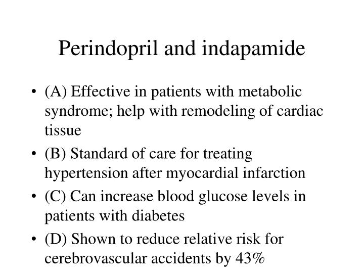 Perindopril and indapamide