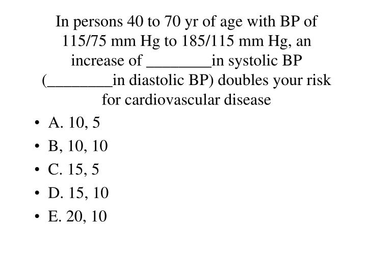 In persons 40 to 70 yr of age with BP of 115/75 mm Hg to 185/115 mm Hg, an increase of ________in systolic BP (________in diastolic BP) doubles your risk for cardiovascular disease