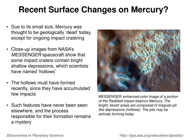 recent surface changes on mercury n.