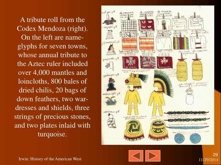 A tribute roll from the Codex Mendoza (right). On the left are name-glyphs for seven towns, whose annual tribute to the Aztec ruler included over 4,000 mantles and loincloths, 800 bales of dried chilis, 20 bags of down feathers, two war-dresses and shields, three strings of precious stones, and two plates inlaid with turquoise.