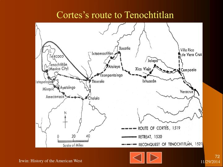 Cortes's route to Tenochtitlan