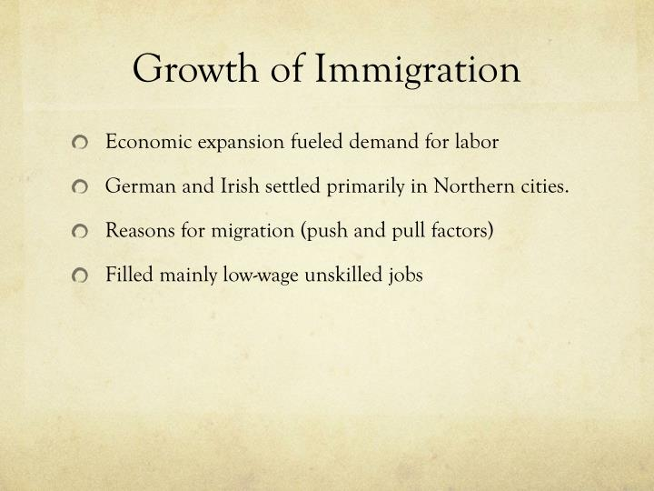 Growth of Immigration