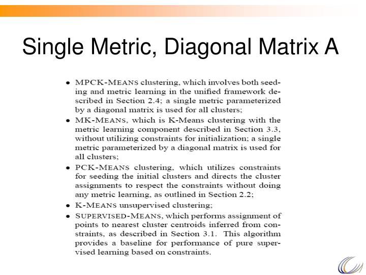 Single Metric, Diagonal Matrix A