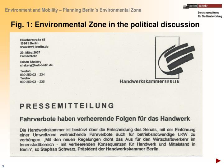 Fig. 1: Environmental Zone in the political discussion