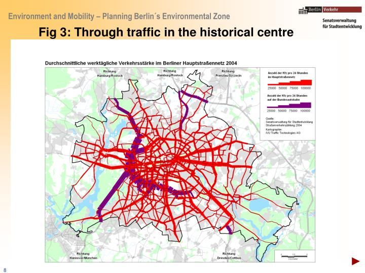Fig 3: Through traffic in the historical centre