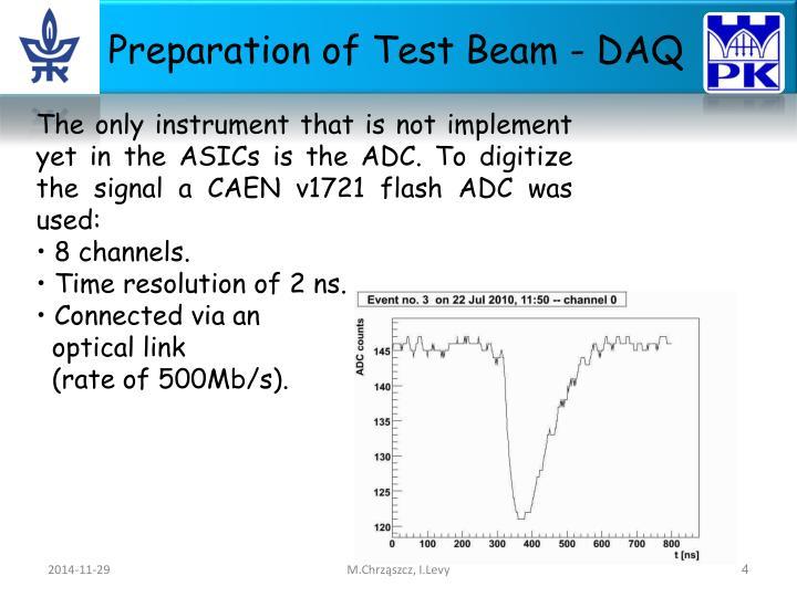 Preparation of Test Beam - DAQ