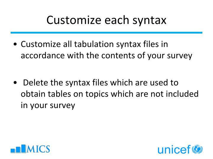 Customize each syntax