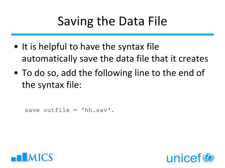 Saving the Data File