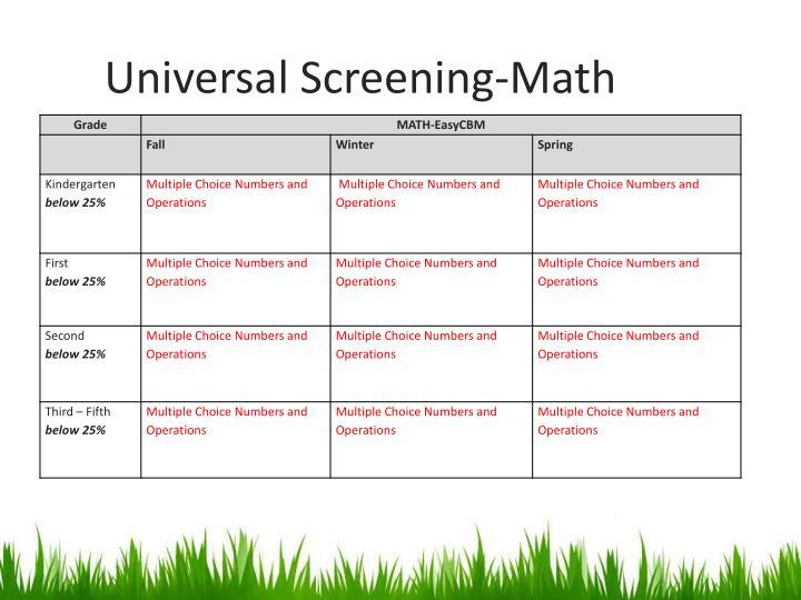 Universal Screening-Math