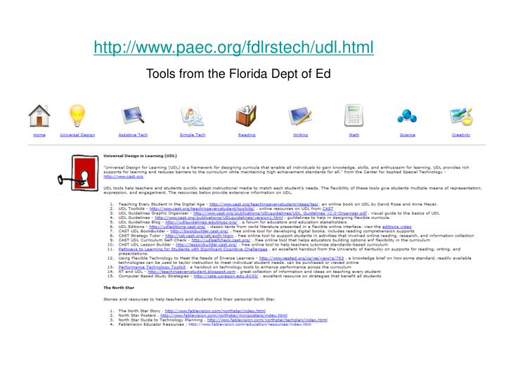 http://www.paec.org/fdlrstech/udl.html