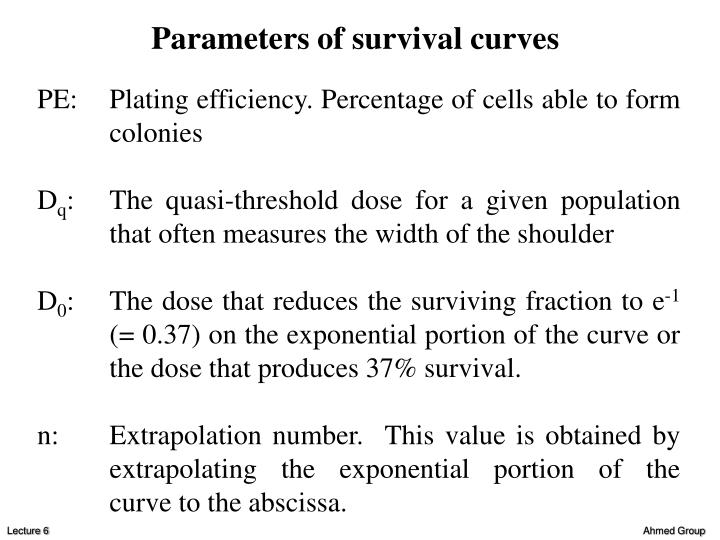 Parameters of survival curves