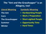 the ant and the grasshopper is an allegory too