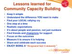 lessons learned for community capacity building