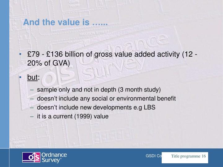 £79 - £136 billion of gross value added activity (12 - 20% of GVA)
