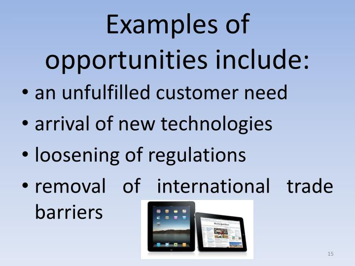 Examples of opportunities include: