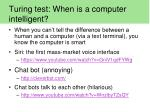 turing test when is a computer intelligent