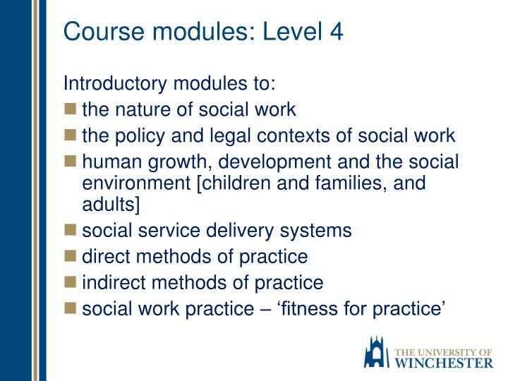 Course modules: Level 4