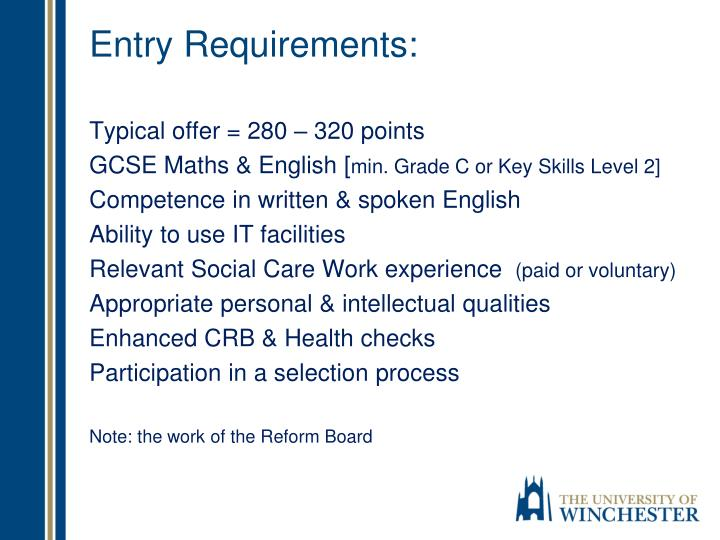 Entry Requirements:
